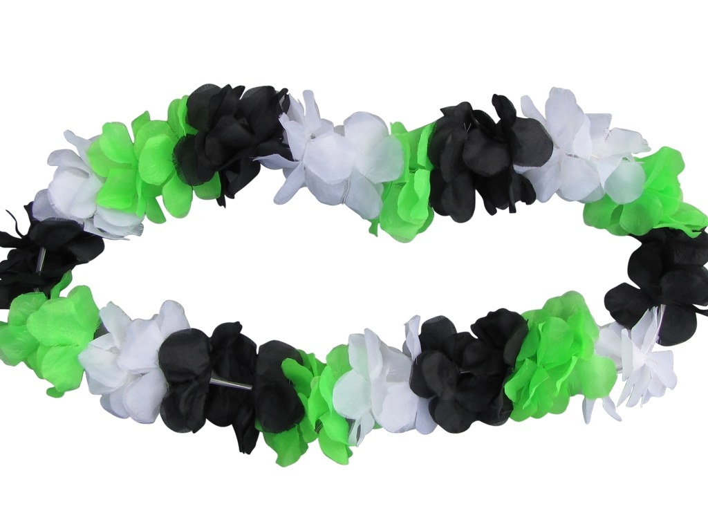 Flower garland black-white-green