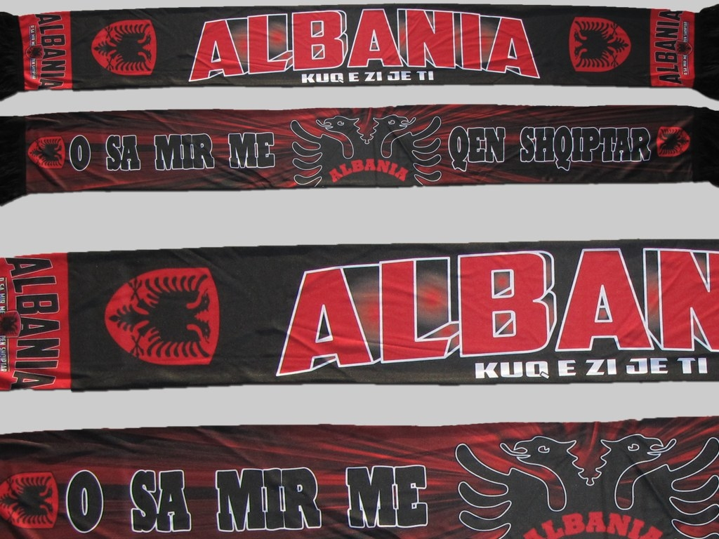 Polyester Fan supporter Schal scarf écharpe Albanien Albania shall sublimation
