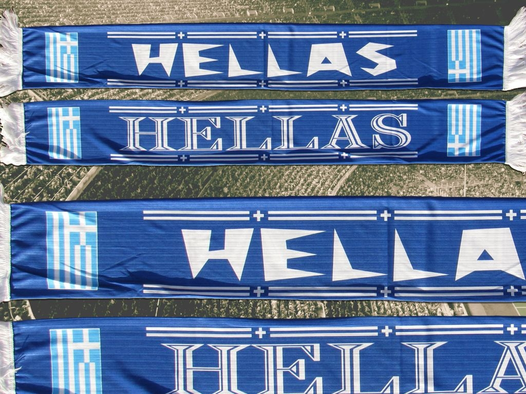 Polyester Fan supporter Schal scarf écharpe Griechenland Greece Hellas Grèce sublimation
